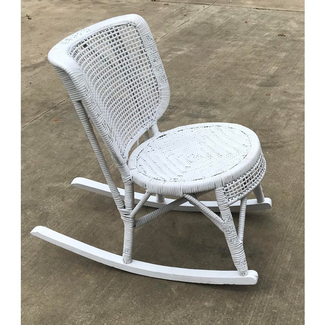 Early 20th Century Antique White Wicker Rocking Chair For Sale - Image 4 of 8