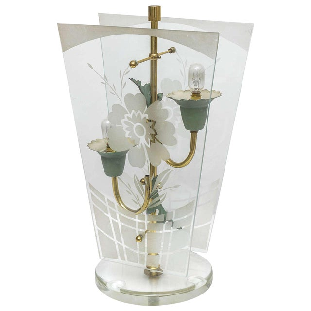 Early Fontana Arte Etched Floral Motif Table Lamp For Sale