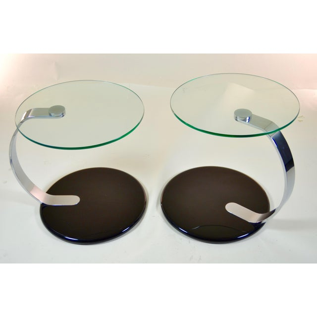 Late 20th Century Pair of Modernist Chrome and Glass Tables For Sale - Image 5 of 10