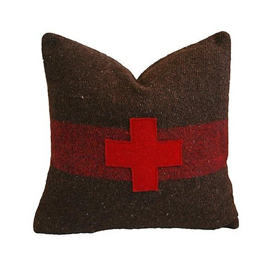 Swiss Appliqué Red Cross Wool Pillow For Sale