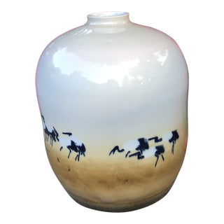 Vintage Chinese Art Studio Pottery Vase of Cranes For Sale