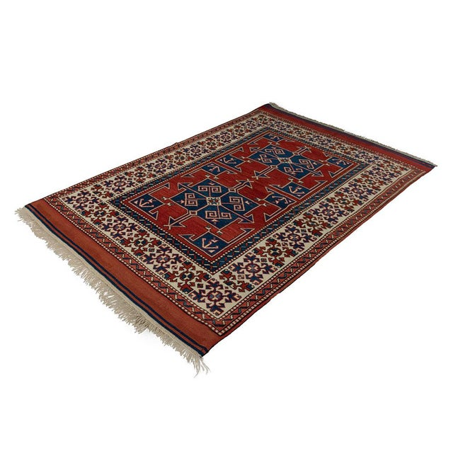 Mid 20th Century Vintage Red Turkish Area Rug 4'x6' For Sale - Image 5 of 5