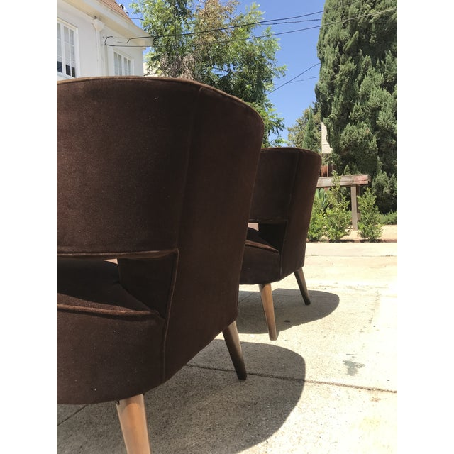 Mid-Century Modern Pair of Room & Board Mid-Century Brown Velvet Chairs For Sale - Image 3 of 4