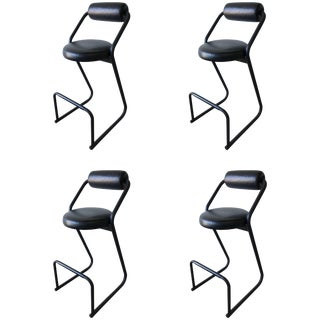 Set of Four Post-Modern Amisco Barstools for Créations Gibo For Sale