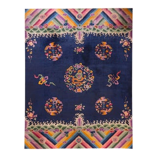Antique Chinese Art Deco Rug-9′ × 11′6″ For Sale