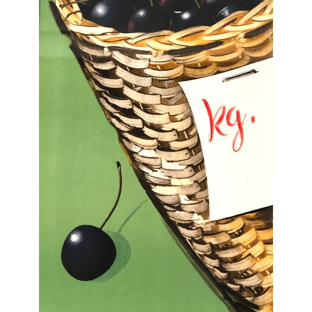 Green Vintage Swiss Advertising Lithograph of Cherries For Sale - Image 8 of 10