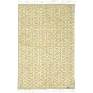 20th Century Swedish Flat & Pile Weave Rug- 4′8″ × 6′11″ For Sale