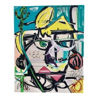 JJ Justice Contemporary Abstract Portrait Painting For Sale