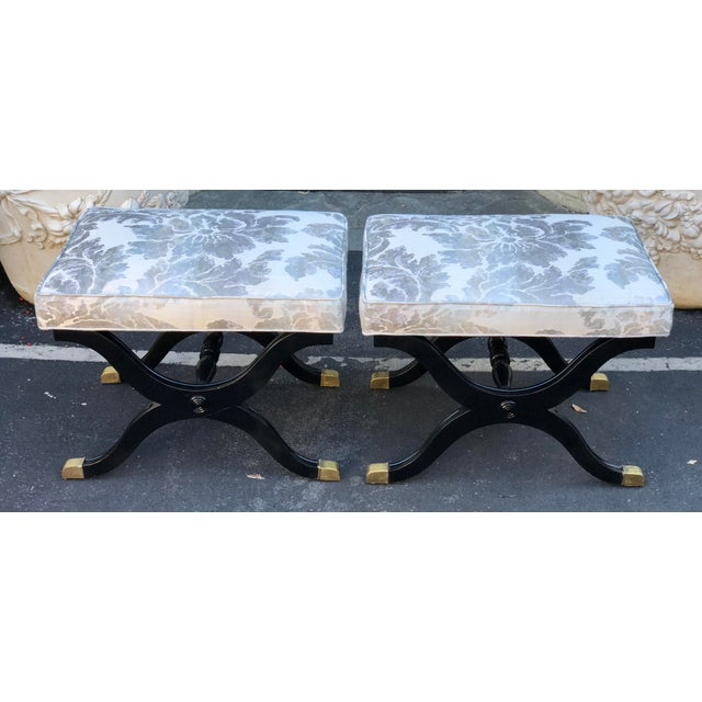 Pair of Charles X Style X Bench Footstools or Ottomans