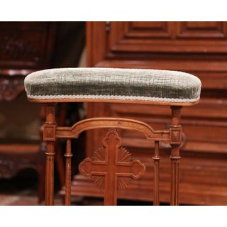 """19th Century French Carved Walnut Prayer Bench or """"Prie-Dieu"""" With Green Velvet Preview"""