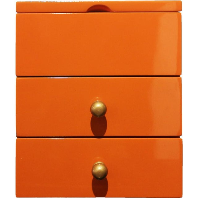 Asian Orange 2-Drawer Jewelry Box For Sale - Image 3 of 4