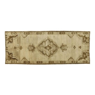 Vintage Turkish Oushak Gallery Rug With Modern Shaker Style - 05'01 X 12'09 For Sale
