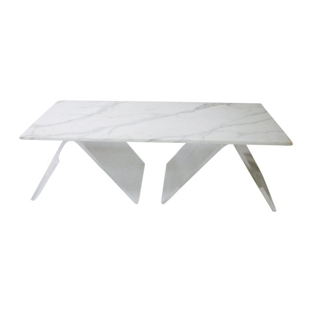 Lucite Base Coffee Table with Marble Top - Image 1 of 11