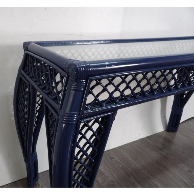 British Colonial Vintage Navy Lacquer Finish Bamboo Rattan Glass Topped Console Table For Sale - Image 3 of 7
