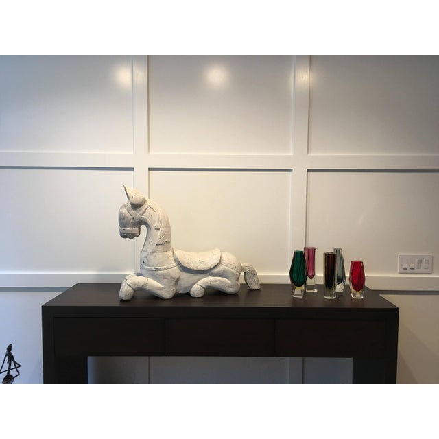 Early 20th century Tang Dynasty style solid wood horse sculpture weighing in at an impressive 33 lbs. So old hes modern,...