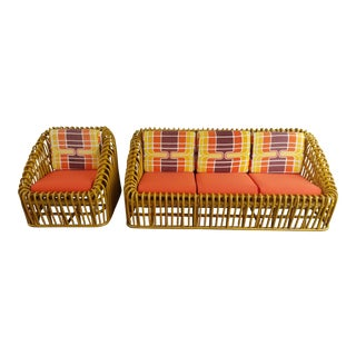 Vintage Bentwood Sofa & Chair Style of Franco Albini - A Pair