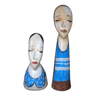 Vintage Mexican Man Woman Couple Hand-Painted Folk Art Pottery Ceramic Figures - Set of 2 For Sale