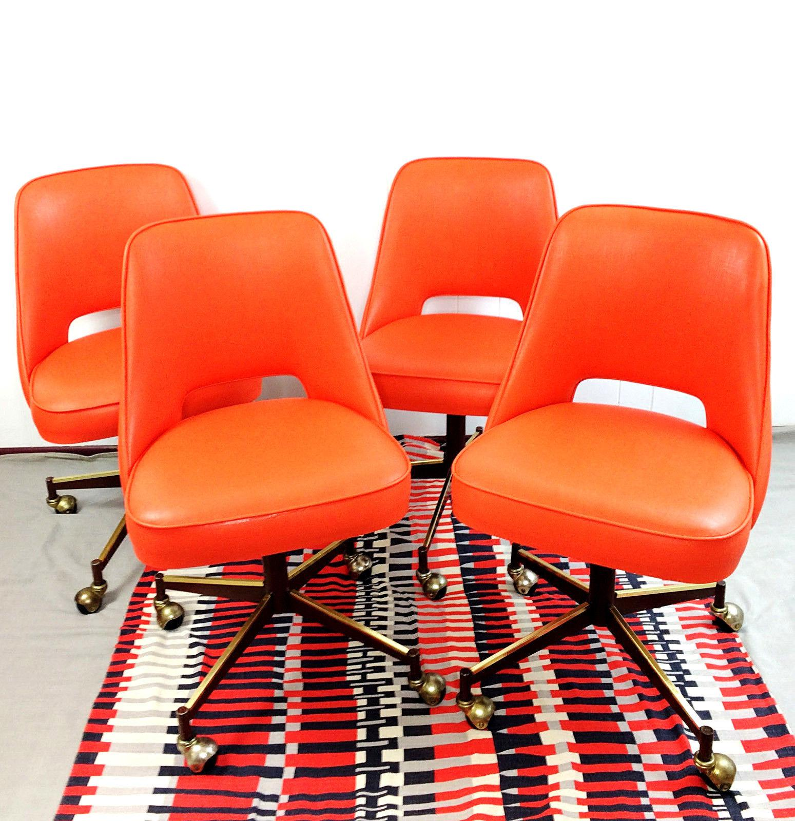Charmant Mid Century Modern Orange Vinyl Rolling Bucket Dining Chairs   Set Of 4    Image
