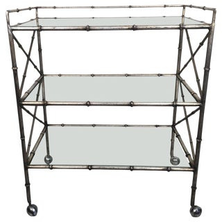 1960s Hollywood Regency Silver Gilt Iron Faux Bamboo 3-Tier Bar Cart For Sale