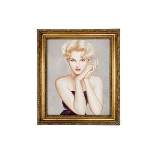 1940s Vintage Hollywood Glam Model Oil Portrait Painting For Sale