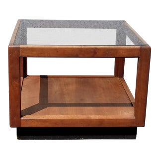 Vintage Mid Century Danish Modern End Table W Smokey Glass For Sale