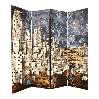 """Citta' DI Carte"" Folding Screen by Piero Fornasetti For Sale"