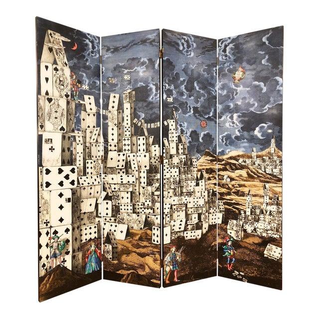 """""""Citta' DI Carte"""" Folding Screen by Piero Fornasetti For Sale"""