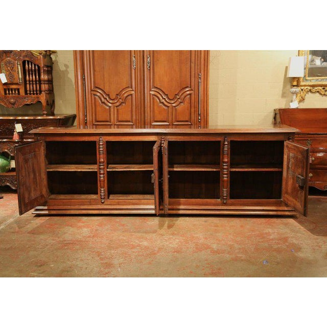 Brown Early 19th Century French Louis XIII Carved Walnut Four-Door Enfilade Buffet For Sale - Image 8 of 13