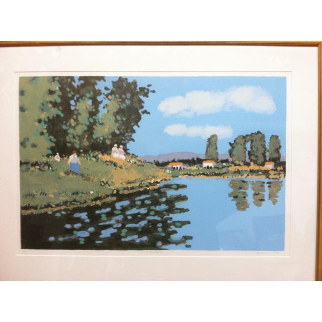 "Impressionist Vintage Mid-Century Frederick McDuff ""Reflections"" Framed & Matted Limited Edition Print For Sale - Image 3 of 10"