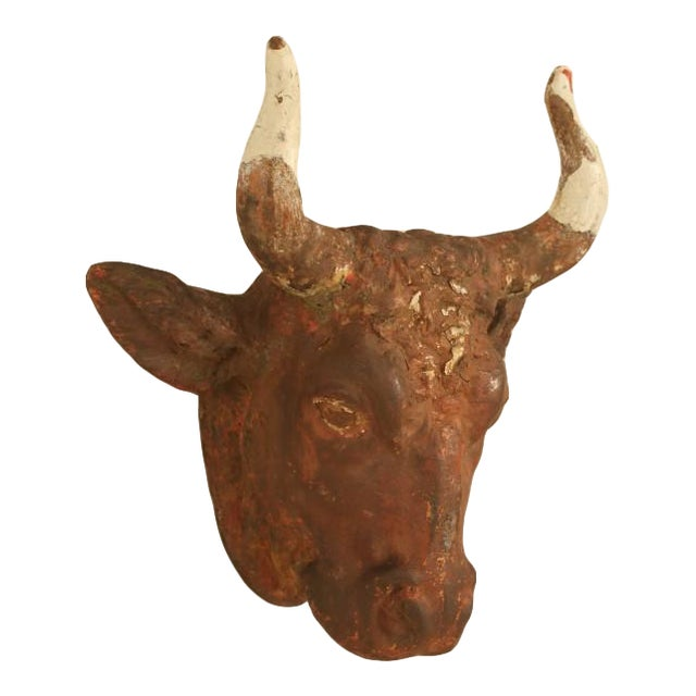 French Boucherie Cast Iron Steer Head Sign For Sale