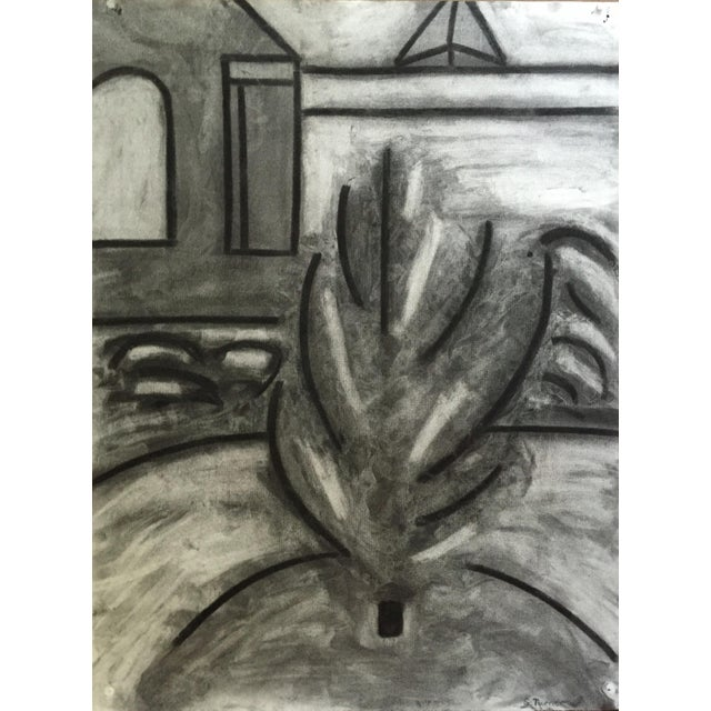 Abstract 1978 Bay Area Artist Black and White Abstract Plant Drawing For Sale - Image 3 of 3