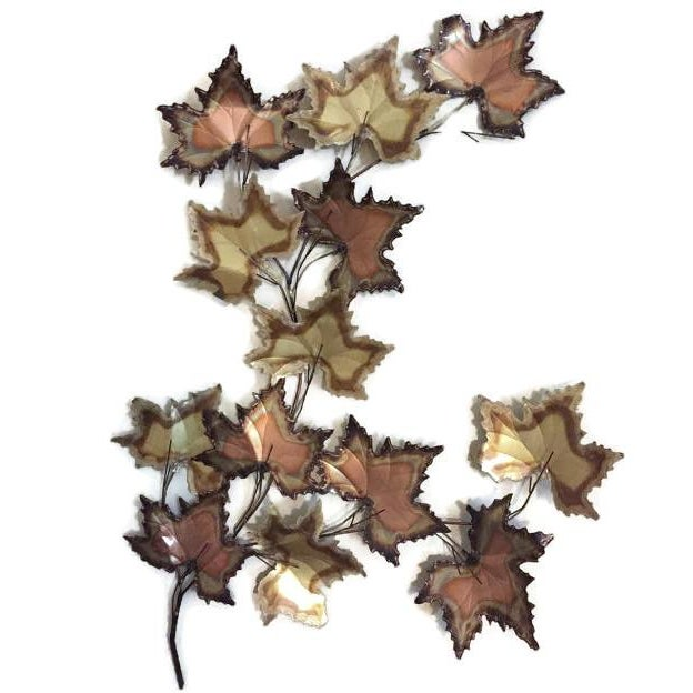 Vintage Jere Style Copper Brass Maple Leaves Metal Wall Art - Image 6 of 6