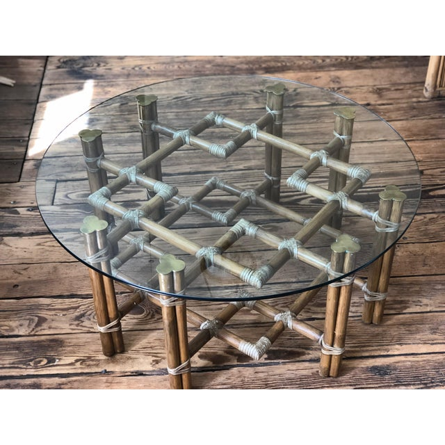 Metal 1990s Boho Chic McGuire Round Rattan Coffee Table With Glass Top For Sale - Image 7 of 11