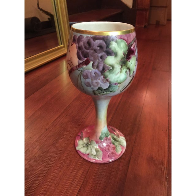 Large, gorgeous, hand-painted Willets Belleek porcelain chalice cup featuring grapes, leaves, and tendrils - circa 1900....