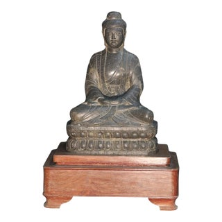 Antique Seated Stone Buddha in Wooden Base For Sale