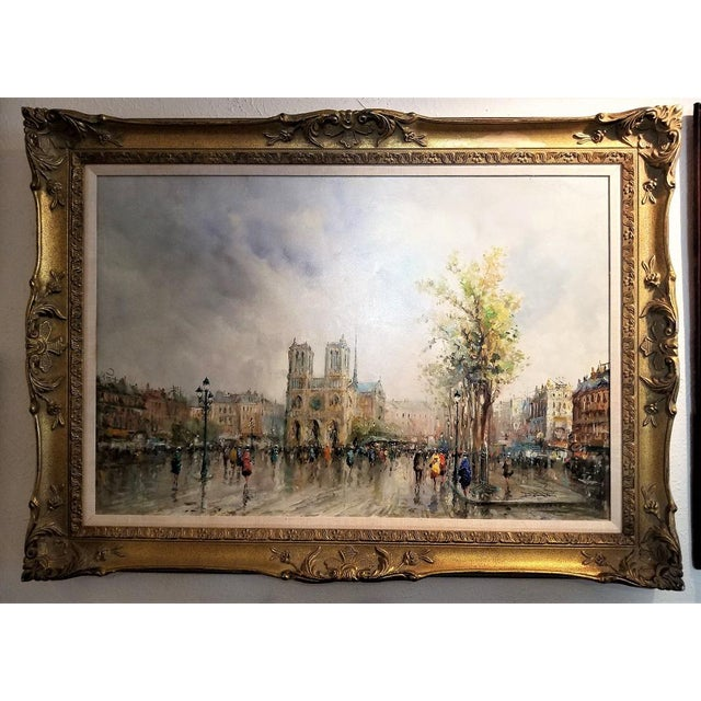 Paris Notre Dame Oil Painting on Canvas by Demone For Sale - Image 11 of 11