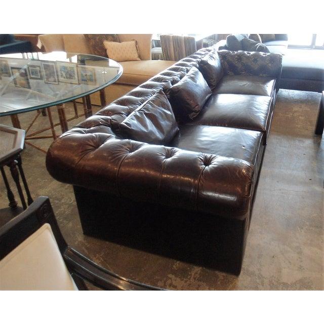 Kravet Kravet Chesterfield 3-Seat Sofa, Brown Tufted Leather For Sale - Image 4 of 11