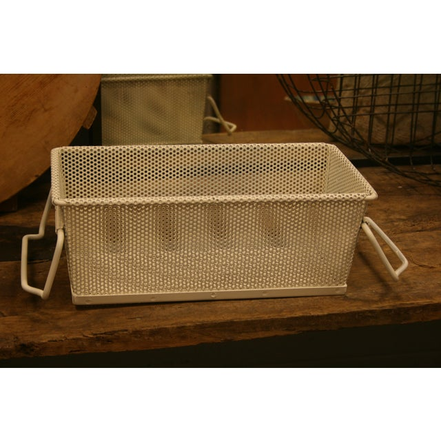 French Vintage French Industrial Metal Basket With Handles For Sale - Image 3 of 11