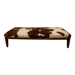 1980s Vintage Sleek Cowhide Bench For Sale