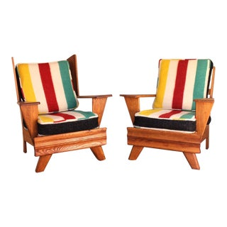 1960s Mid Century Modern Ranch Oak His and Hers Arm Chairs - a Pair For Sale