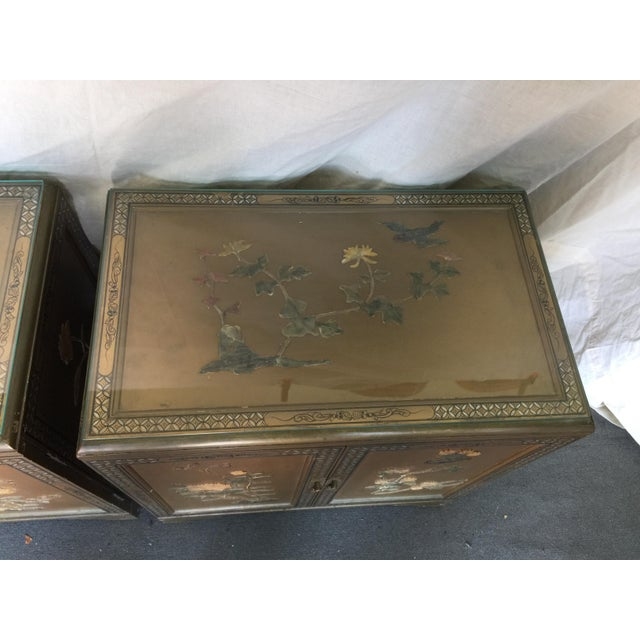 Pair Hollywood Regency Chinese Chinoiserie Chests With Hardstone Decoration For Sale - Image 4 of 11