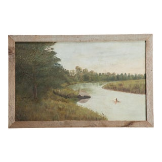 Antique Native American Indian in Canoe on River For Sale