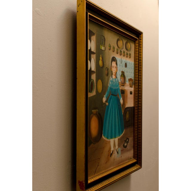 1950 'Girl in Kitchen' Painting by Lilia Carrillo For Sale - Image 7 of 8