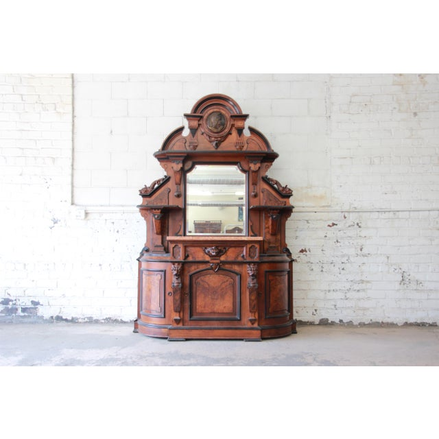 Monumental 19th Century Victorian Ornate Carved Burled Walnut Sideboard For Sale - Image 13 of 13