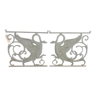 1950s Art Deco Cast Iron Swan Art - a Pair For Sale