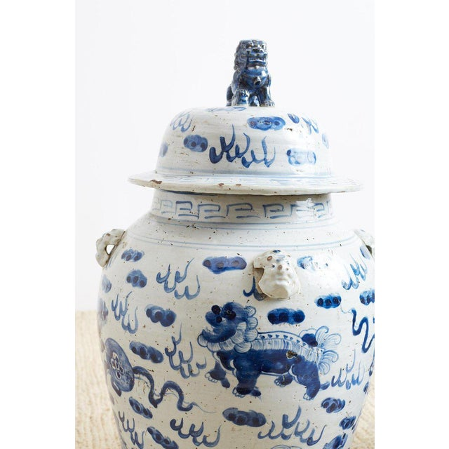 Asian Pair of Chinese Blue and White Ginger Jars and Foo Dogs For Sale - Image 3 of 13