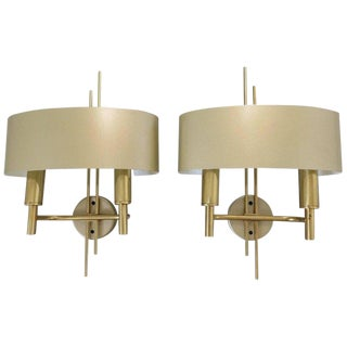 Pair of Maison Charles Gilt Brass Shaded For Sale