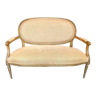 19th Century Louis XVI Linen Upholstered Gilt Wood Settee