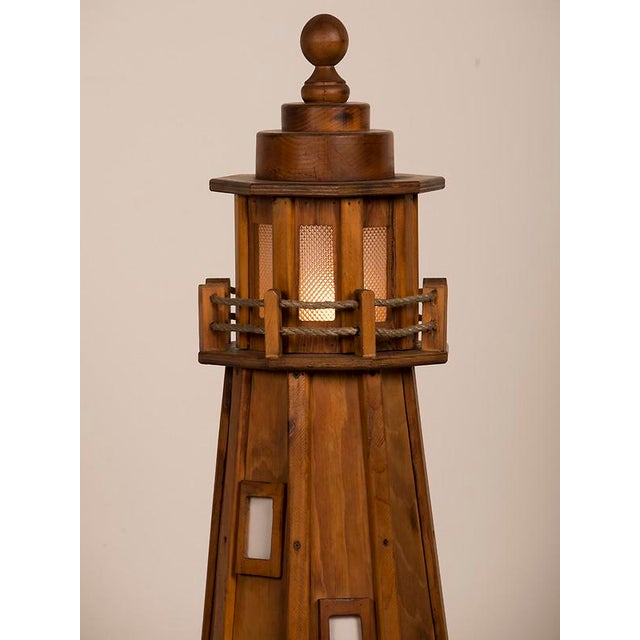 Glass Vintage French Handmade Wood Lighthouse Floor Lamp circa 1950 For Sale - Image 7 of 8