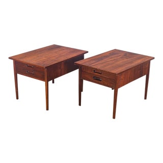 Jack Cartwright Mid Century Walnut End Tables for Founders - A Pair For Sale